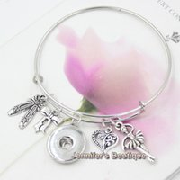 Wholesale Dancing Shoes For Women - Newest Fashion Interchangeable Jewelry Style Dance Ballet Shoes Ballerina Charms Expandable Wire Snap Bangles Bracelets for women Jewelry