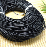 Wholesale Leather Cord Bracelets Sale - Free shipping Jewelry DIY 100Meters 2mm Black Round Genuine Leather Cord, New Hot Sale Necklace & Bracelet Cord