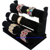 Wholesale Tier Bracelet Display Bar - Wholesale Hot Sales Price Jewelry Display Rack Black Velvet Bracelet Bangle Watch Display Holder Three-Tier T Bar