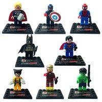 Wholesale Anime Batman Toy - Retail 8pcs lot Marvel Super Heroes Avengers Batman Captain Mini figures Building Blocks Sets Anime Movies Bricks Toys Lego Figures GZ-T08