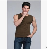 Wholesale Men S Gold Waistcoats - Factory direct men's wide shoulder vest cotton V-neck sleeveless T-shirt fitness exercise stretch waistcoat color Korean version