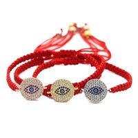 Wholesale Gold Beads For Shamballa - Wholesale 10pcs lot Red Braided Shamballa Bracelet For Men & Girls Gold, Rose Gold and Platinum Pave CZ Beads Jewelry
