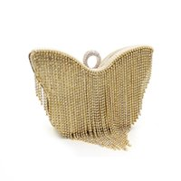 Wholesale Butterfly Clutch Purses - hot sale Handmade Evening Clutch Purse Crystal Chain Fashion luxury lady Designer butterfly rhinestone glittering tassel Evening Bag