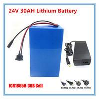 Wholesale Ebike 24v - 24V 500W battery 24V 30AH electric bike Lithium ion ebike battery use samsung 3000mah cell with 30A BMS 29.4V 2A charger