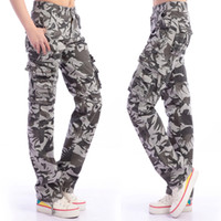 Wholesale Girl Cargo Pants Baggy - Red Khaki Camouflage Women Baggy Cargo Pants Big Size 36 38 Girls Dance Outdoor Hiking Pant Camo Cargo Pants For Women