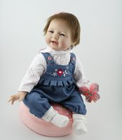 Wholesale Realistic Baby Doll Silicon - Newborn Lifelike Baby Dolls 22 Inch Realistic Reborn Babies Doll Silicon Baby Alive Very Soft Children Birthday Christmas Gift