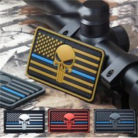 Wholesale 2016 The Thin Blue Line DEVGRU Seal Team Punisher American flag D PVC Patch White Red Grey Green Luminous