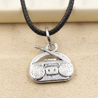 Wholesale Radio Leather - 12pcs New Fashion Tibetan Silver Pendant radio 14*15mm Necklace Choker Charm Black Leather Cord Factory Price Handmade Jewlery