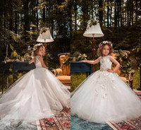 Wholesale Cheap Birthday Tutus For Girls - 2018 New Jewel Neck Sleeveless Flower Girl Dresses For Weddings Princess Tutu Lace Beads Butterflies Kids First Communion Gowns Cheap