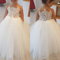 Wholesale White Shirts Puffy Sleeves - 2017 Simple Tulle Long Flower Girls Dresses For Weddings Jewel Neck Lace Appliqued Little Baby Ball Gowns Puffy Skirts Communion Dress
