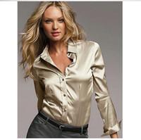 ingrosso camicette di raso nero manica lunga-Camicetta S-XXXL da donna in raso di seta con bottoni donna in raso di seta camicetta casual Bianco Nero Oro Camicia rossa in raso con maniche lunghe.