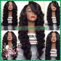Wholesale Black Hair Tie Cosplay - Middle Part Human Hair Lace Front Wig With Bangs Virgin Brazilian Glueless Full Lace Wigs Bleached Knots Loose Body Wave