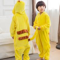Wholesale Unisex Pikachu Onesie - Kids adult Pikachu Pajamas Kigurumi Pikachu Cosplay Costume Unisex Pikachu Hoodies Onesie Sleepwear Pajamas Sleepwear KKA2405