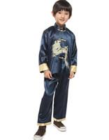 traje de niño chino al por mayor-Historia de Shanghai Niño chino tradicional Dragón Traje de kung fu Traje de Tang Tai Chi uniforme