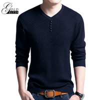 Wholesale Mens Wool Jerseys - Men's Winter Henley Neck Sweater Men Cashmere Pullover Sweater Mens Knitted Sweaters Pull Homme Jersey Casual Basic Slim Clothing