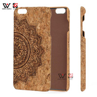 Wholesale Phone Accesories Wholesales - Mandala Cork Wood Phone Case for iPhone 6 6s 6plus 7Plus 8Plus Heart PC Back Blank Mobile Cell Phone Cover Accesories in Bulk