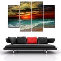New Hot 4 Piece Beach Sunset Painting Modern Abstract Oil Canvas Art Seascapes Wall Pictures Decoração Conjuntos Entrega gratuita