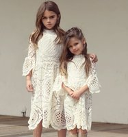 Wholesale Dress Clothes Korea - Everweekend Girls Lace Ruffles Hollow Out Autumn Dress Western Fashion Vintage Korea Baby Clothing Lovely Kids Fall Clothes