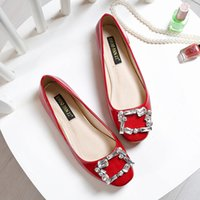 Wholesale Store Dresses Girls Wedding - 2016 Fashion Mother shoes Crystal Diamond Square toe red color Plus size 34-43 Women flats no heels Cheap online stores sexy girls shoe