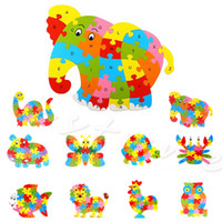 Wholesale Kids Number Toys - Wholesale-Kids Baby Wooden Animal Puzzle Numbers Alphabet Jigsaw Learning Educational Toy Freeshipping