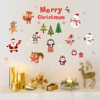 etiqueta de vidrio de la puerta al por mayor-Ventana de la Navidad etiquetas desprendibles de la pared etiquetas de DIY Decoración de cristal de la puerta de la etiqueta escaparate vinilo decorativo para Navidad Año Nuevo