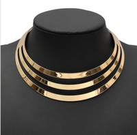 Wholesale Metal Collar Statement - 2016 Charm Choker Necklaces Women Gorgeous Metal Multi Layer Statement Bib Collar Necklace Fashion Jewelry Accessories Hot Sale HJIA906