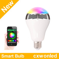 Wholesale cree 3w red light led resale online - Wireless Bluetooth W E27 LED Bulbs Speaker smart Bulb RGB Music Playing Lighting App Control CE SAA C TICK