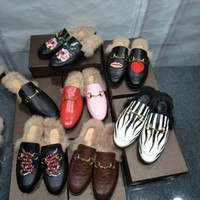 Wholesale Ladies Velvet Flats - 2017 Fashion Brand Street Style Ladies Princetown Leather Slippers Velvet Fur Loafers Women Slides Slip On Flats Designer Lazy Shoes Woman