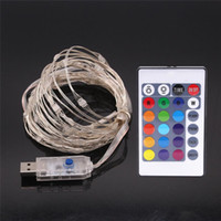 Wholesale Multi Usb Wire - USB LED Fairy String Lights with Timer Remote Control Dimmable 16ft 50 LEDs 33FT 100LEDs Multi Color Copper Wire String christmas festival