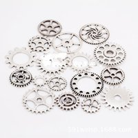Wholesale Diy Charms Gold - 100pcs lot Gold silver vintage bronze Mix retro steampunk gears jewelry charms pendant steampunk gears for DIY necklace