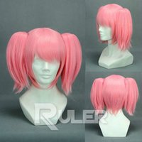 Short Puella Magi Madoka Magica Anime Cosplay Party Wig HAIR + 2Clips no rabo de cavalo