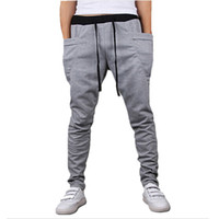 Wholesale Wholesale Drop Crotch Pants - Wholesale-Mens Joggers New Style Fashion 2016 Casual Skinny Joggers Sweatpants Drop Crotch Jogging Harem Pants Men Boys Joggers Sarouel
