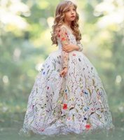 Wholesale Organza Ball Gowns For Children - Ball Gown Girls Pageant Dresses Embroidery Flowers Sheer Long Sleeves Flower Girl Dresses For Wedding Children Handmade Kids Party Dress