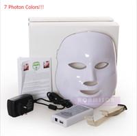 Wholesale Lighted Mask Acne - 7 Lights LED Face Mask Skin Rejuvenation PDT Photon Mask For Acne Treatment Wrinkle Removal Beauty Mask DHL Free Shipping