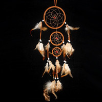 Wholesale New Arrival Feather dream catcher decor feather decorations Three ring Indian feather accessori dream catchers in mixed colors