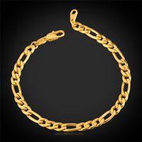 ingrosso bracciale figaro oro per uomo-Classico braccialetto a catena Figaro all'ingrosso moda 18 k placcato oro reale 5 MM catena a maglia bracciali braccialetti gioielli uomo (7Vogue H1041)