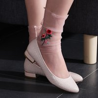 Wholesale Colorful Fishnet - 1Pair New Fashion Women Ultrathin Sheer Embroider Rose Flowers Fishnet Socks Casual Colorful Transparent Mesh Hosiery Summer