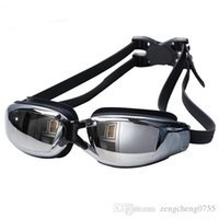 Wholesale Electroplated Goggles - Professional wholesale-Men Women Anti Fog UV Protection Swimming Goggles Professional Electroplate Waterproof Swim Glasses Free shopping