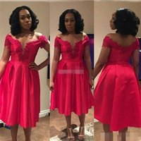 Wholesale Cheap Plus Size Night Dresses - Cheap Short Party Dresses 2016 Red Off the Shoulder Applique Knee Length Satin Custom Made Occasion Gowns Prom Cocktail Night Club Dresses