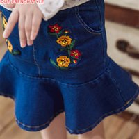 Wholesale Korean Jeans Skirts - Korean Girls Skirt Denim Skirts Children Princess Cute Slim Mini Dress Flower Embroidered Jeans New Girl Big Kids Clothing Skirt Blue A7548