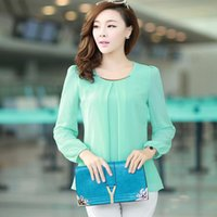 Wholesale Solid Chiffon Blouse - 2016 Golden Articlesequins O-Neck Elastic Cuff Shirt for summer Autumn Blouse Tops Chiffon shirts for women 4XL plus size long sleeve