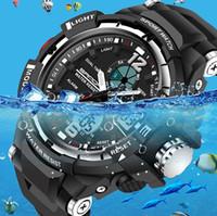 Wholesale Dive Watch Men For Military - Male Fashion Sport Military Wristwatch 2017 New SANDA Watches Men's Luxury Brand 3ATM 30m Dive LED Digital Analog Quartz Watch For men man