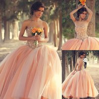 Wholesale New Sexy Peach Quinceanera Dresses Strapless Organza Ball Gown Floral Colorful Winter Girls Dresses Beaded Crystals Tulle