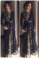 Wholesale Indian Occasion Dresses - Arabic Muslim Evening Dresses Lace Sleeved Long Gold Indian Dresses Occasion Dresses Prom Dresses Party Dresses