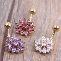 Wholesale Navel Percing - 2016 Flower 18K Gold Plated Navel Ring Percing Nombril Belly Piercing Belly Rings Body Jewelry Piercings Belly Button Rings