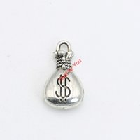 Wholesale Money Bag Pendants - 30pcs Antique Silver Plated Money Bags Charms Pendants Bracelet Necklace Jewelry Making Accessories DIY 17x10mm