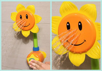 Wholesale Green Round Faucet - New Baby Bath Toy Children Pool Swimming Toys Sunflower Shower Faucet Shower 0-12 Months Bath Learning Toy Gift Yellow Green