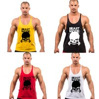 Wholesale Men White Singlets - Gold Gym Print Skull Vest Clothing Bodybuilding Fitness Tank Muscle Men Singlet Gymshark Male Sport Undershirt New Arrivals free ship 1133