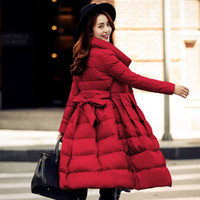 Wholesale White Long Puffer Coat - drawstring waist ladies quilted and jackets white duck down long women winter women parka outerwear puffer coats skirt dress