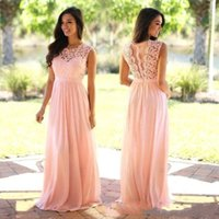 Дешевые элегантные платья невесты Blush Pink Mint Lace Country Style 2018 New Maid of Honor Gowns Line Long Wedding Guest Dresses CPS489